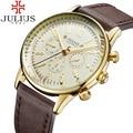 Venta caliente Julius Hombres de Lujo del Reloj de Reloj Del Deporte Militar Hombres de Los Relojes de Cuarzo Analógico Reloj de Pulsera de Oro de Cuero Reloj Hombre Montre