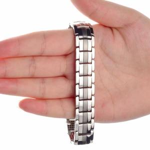 Image 5 - LITTLE FROG Men Jewelry Healing magnetic Bangle Balance Health Bracelet Silver Titanium Bracelets Special Design for Male 10212