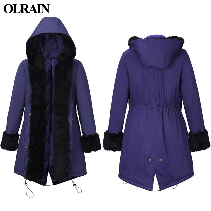 Olrain 2017 Winter New Fashion Women Big Fur Collar Parkas Coat Hooded Loose Warm Cotton Long Hair With Hair Collar Padded 2017 winter new clothes to overcome the coat of women in the long reed rabbit hair fur fur coat fox raccoon fur collar