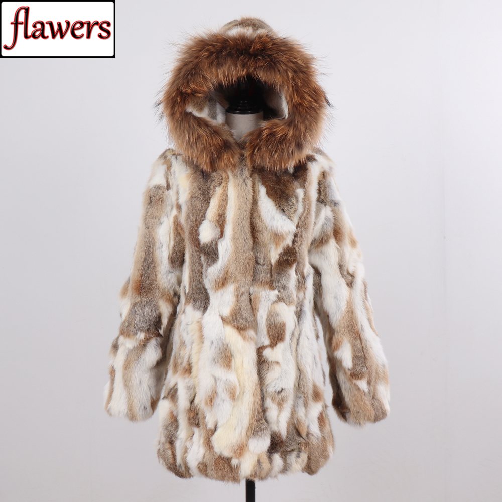 Russia Winter Women Real Rabbit Fur Hooded Coat Natural Warm Rabbit Fur Jacket With Real Raccoon Fur Collar Lady Real Fur Coats
