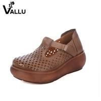 Flat Platform Sandal Pumps Shoes 2017 Women Flat Shoes Genuine Leather Cut Out Cool Soft Handmade