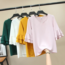 Womens Chiffon T-shirt Summer 2019 New Fashion Casual V-neck Flare Short-sleeve Loose Pullovers Tops Tees Female White Black