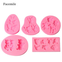 Facemile 5 stks Vlinder Beer Bee Hond Bakvorm Fondant Cake Decoratie Chocolade Snoep Siliconen Mal Cupcake Gum Pastry Tool(China)