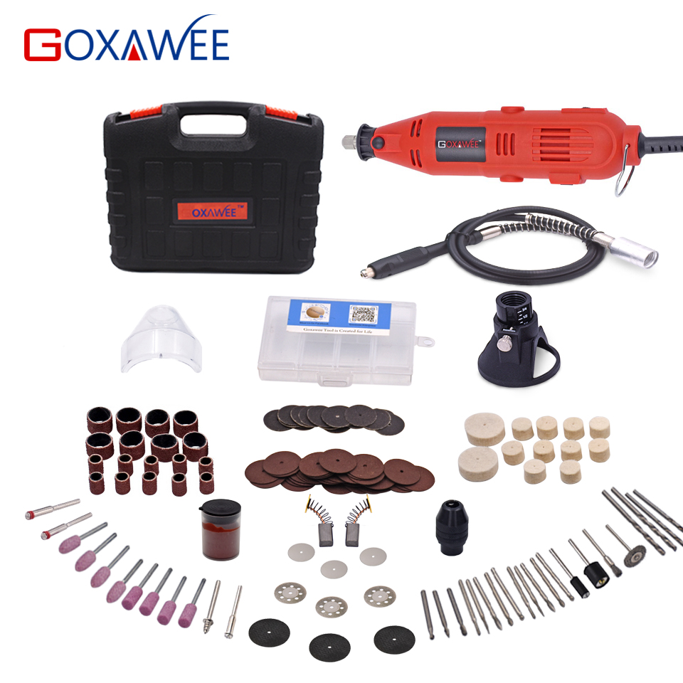 GOXAWEE 130W Dremel Style Variable Speed Electric Rotary Tool Electric Mini Drill with Flexible Shaft Accessories Power Tools tasp 220v 130w electric dremel rotary tool variable speed mini drill with flexible shaft and 175pc accessories storage bag