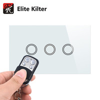 US Standard Elite Kilter Remote Control Wall Touch Switch 3 Gang 1 Way White Crystal Glass