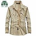 AFS JEEP Autumn Plaid 100% Cotton Casual Plaid Long Sleeve Shirt For Men,Double Chest Pockets,Wholesale Price Man Leisure Shirt