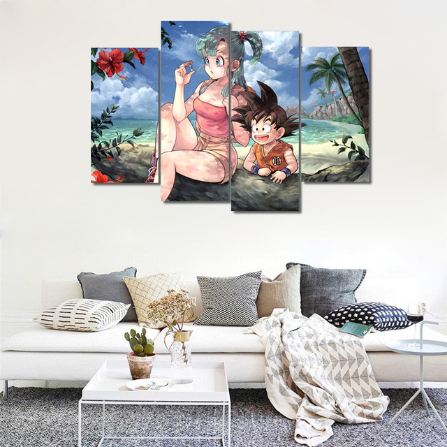 4 Piece Canvas Animal Dragon Ball Z Picture Painting Room Decor Print Poster Wall Art