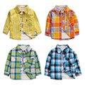2017 новый осень-весна мальчиков хлопковые рубашки тонкий плед футболка с длинным рукавом для малышей девушка полосатые одежды 1-3 лет одежда