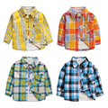 2017 new autumn spring baby boys cotton shirts thin plaid long sleeve shirt for toddler girl striped clothes 1-3 years clothes