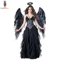 Adult Women Halloween Evil angel Costume Black Party Masquerade Cosplay Dresses Scary Mage Uniforms wigh Wing