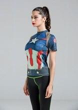Высокое Качество Женщины Футболку Комбинезоны Доспехи Marvel Капитан Америка/супермен/человек-паук Сжатия Футболка Девушка Под Фитнес-Колготки