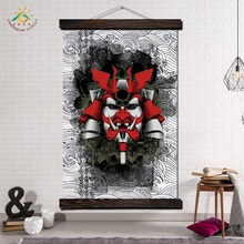 Japanese Samurai Mask Modern Wall Art Print Pop Picture And Poster Hanging Scroll Canvas Painting Home Decoration
