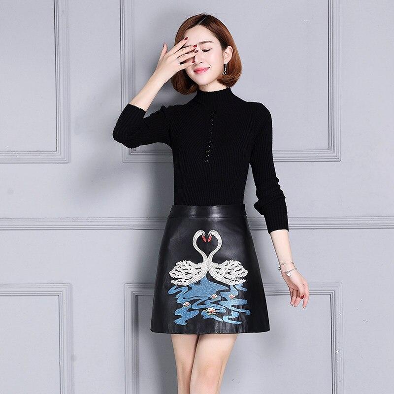 A Jupes Haute Black ligne Noir Taille Broderie Animal La Modèle Court Élégant Plus 4xl Wasis Véritable Cuir En Wrap zqxHARI