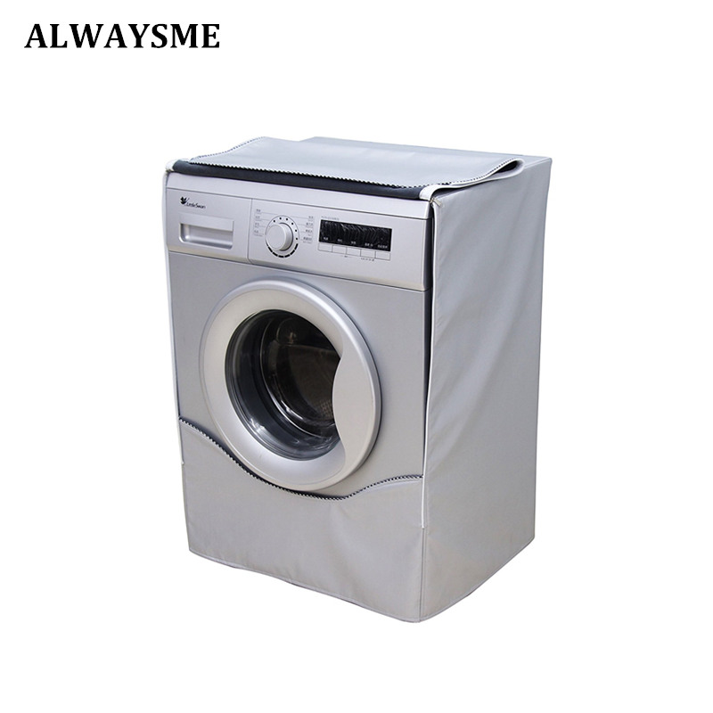 ALWAYSME Washing Machine Cover Waterproof Dustproof Sunscreen Cover For FrontLoad Washer/Dryer Saver Laundry Home Silver Coating