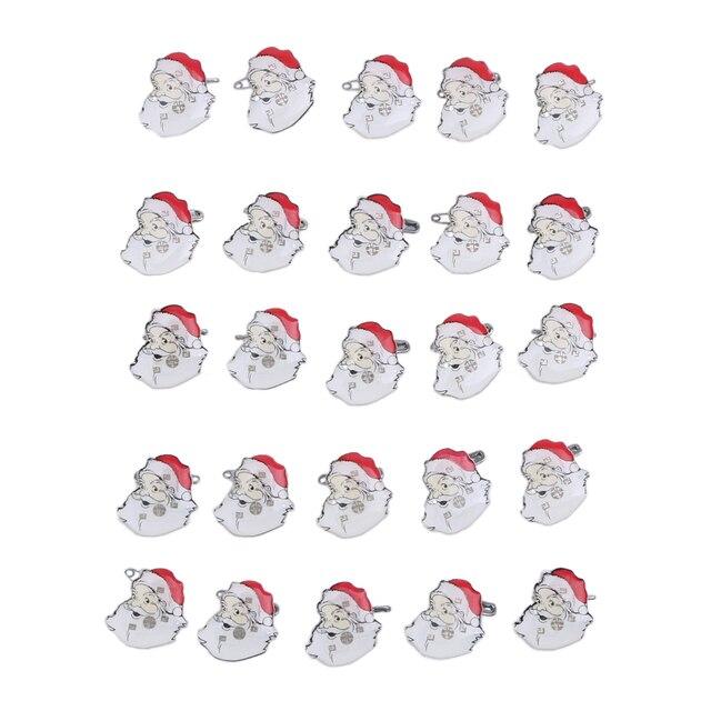 Weihnachtsfeier Cartoon.25 Teile Los Weihnachtsmann Led Licht Brosche Blinkende Abzeichen Brosche Kinder Weihnachtsfeier Cartoon Weihnachtsmann Tuch Hut Dekoration In 25