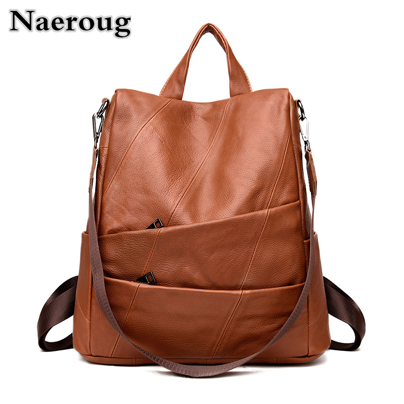 Fashion Vintage Style Women Backpack Genuine Leather School Bags for Girls High Quality Cowhide Leather Female Travel Backpacks new brand high quality genuine leather women backpack female vintage backpacks casual bags fashion girls school bag bolsas