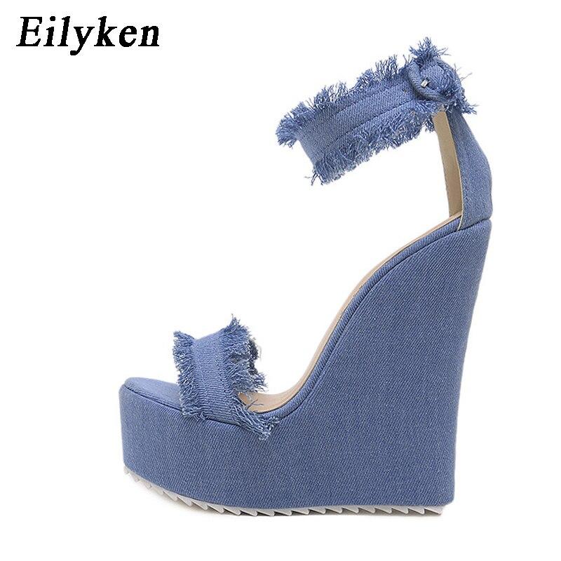 Женские джинсовые сандалии Eilyken, летние сандалии в римском стиле на высокой танкетке с открытым носком, 2020