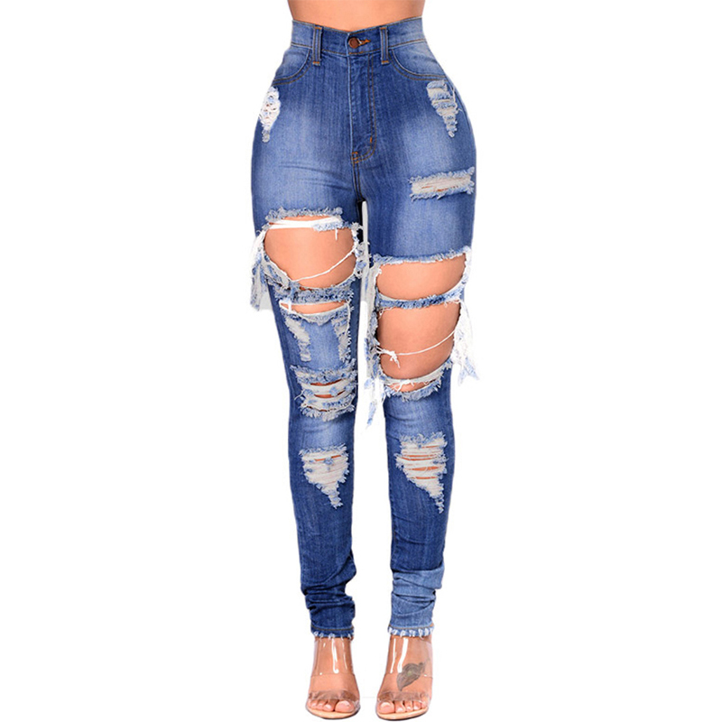 f917809e5a896 Sexy Ripped Jeans Women Blue Tassel Big Hole High Waist Distressed Washed Ripped  Pants Ladies Ultra Stretch Denim Jeans 3XL