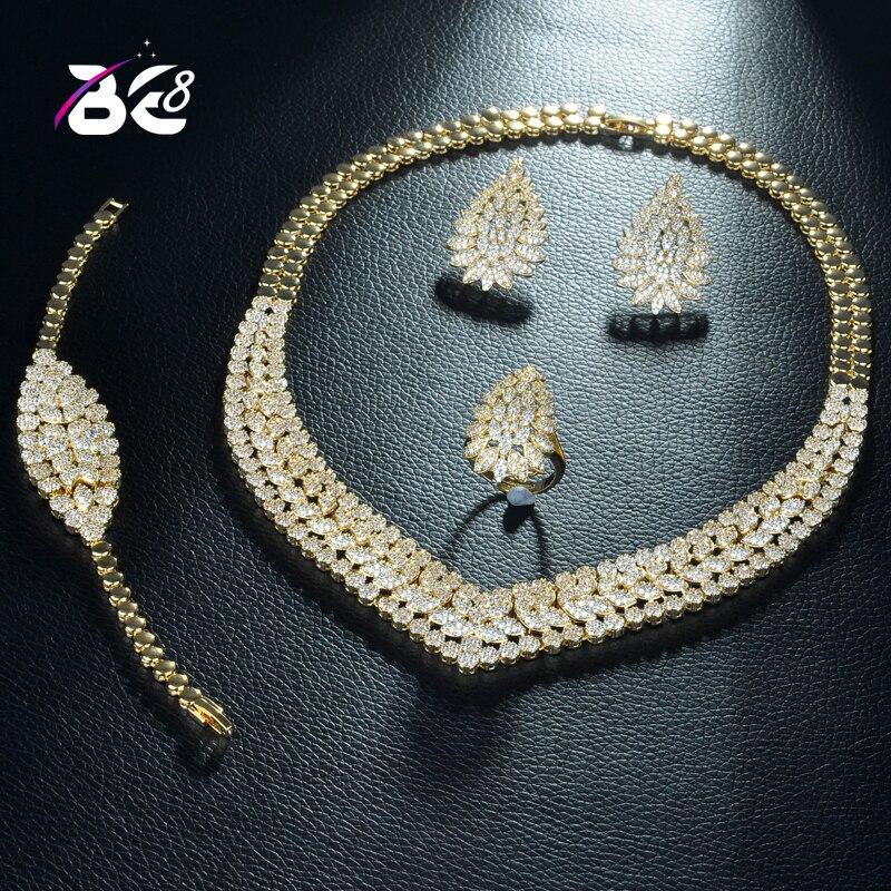 Be 8 nouveauté zircon cubique mariage bijoux de mariée ensembles couleur or indien pour les femmes Vintage perles africaines ensembles de bijoux S286