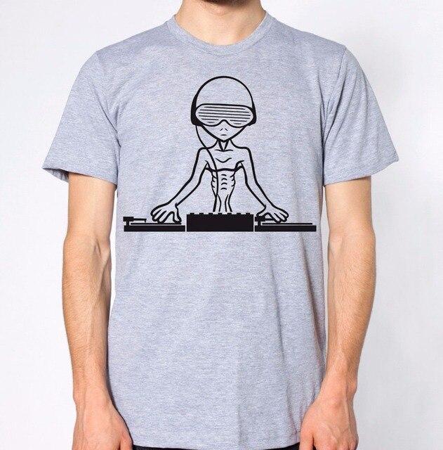 929ec5230 2019 D'été pour hommes Nouvelle Marque Manches Courtes Coton T Shirt Alien  DJ Nouveau top de fête Disco Disques Musique De Fête design