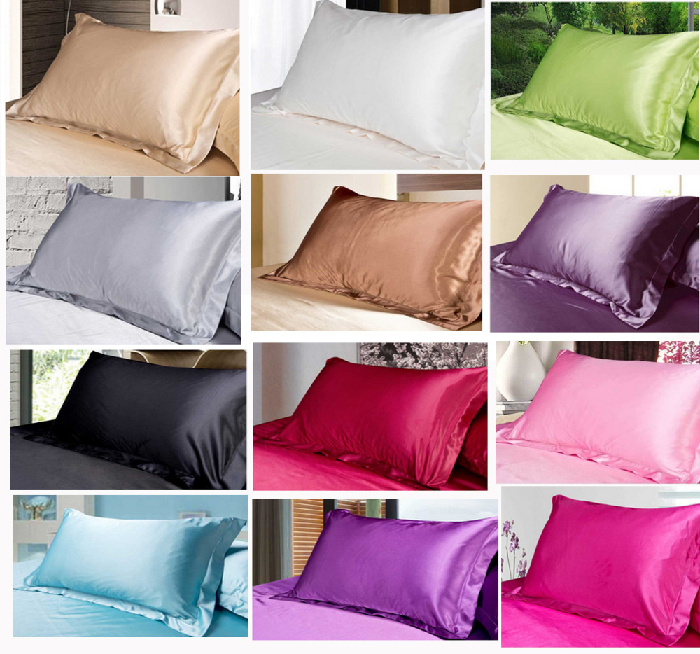 Quality high density 2pcs silky satin standard pillow for White craft pillow cases