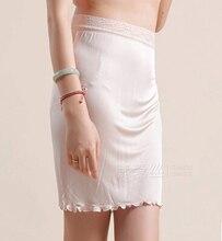 Women's silk knitted lace decoration bust skirt silk slip basic underskirt half slip