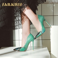 SaraIris Sexy Ultra Thin High Heel Pointed Toe Snake Skin Print Party Wedding Office Shoes Woman Pumps Larges Size 33 48
