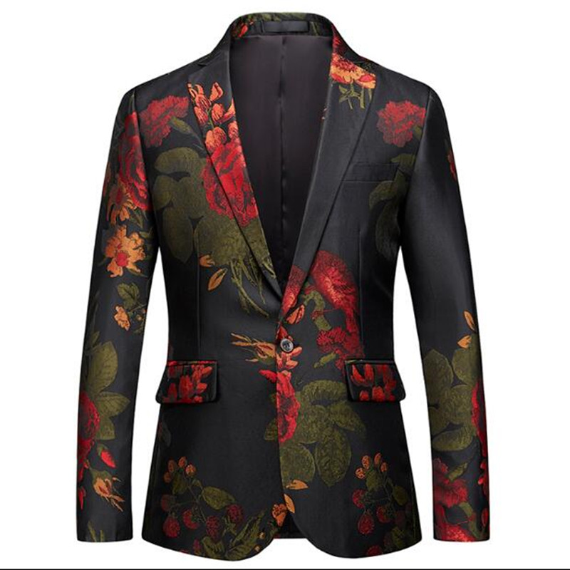 Plyesxale Contrast Color Men Blazer Designs Fashion Printed Ink Style Casual Blazer Jacket Slim Fit Stage