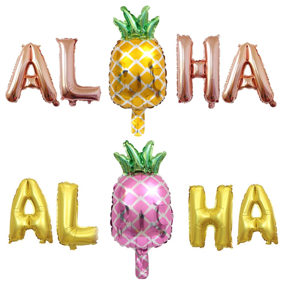 Ballons & Accessories Event & Party 5pcs Rose Gold Aloha Foil Letters Helium Balloons Baby Shower Hawaiian Tropical Beach Party Banner Pineapple Decors Air Balloon