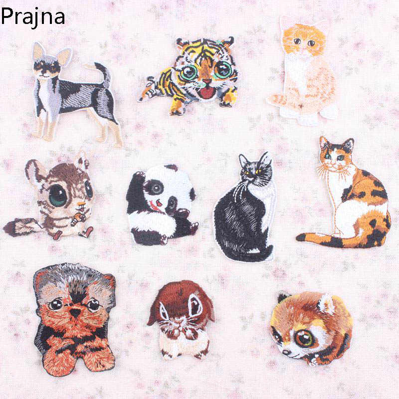 1 PCS Hewan Anjing Hedgehog Tiger Cat Panda Patch Badge Applique Bordir Besi Di Patch Kartun Lucu Murah Untuk Pakaian Sticker