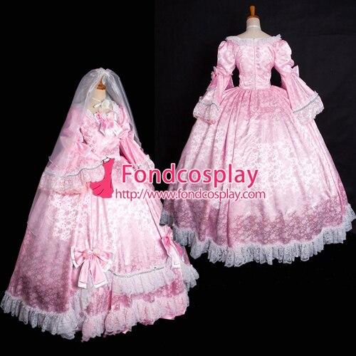 Versailles розово викторианское платье в стиле рококо бальное платье готический костюм на заказ [G1642]