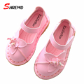 Children Girl Shoes Spring 2017 New Fashion Flowers Girls Shoes Leather Solid Color Cute Kids Shoes Insole 15.5-18cm 9648W