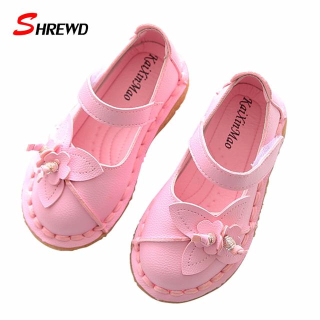 Crianças menina shoes primavera 2017 novas flores forma meninas shoes sólidos couro cor cute kids shoes palmilha 15.5-18 cm 9648 w