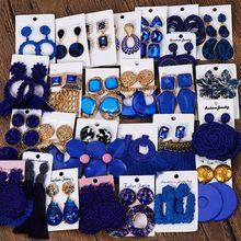 Miwens — Boucles d'oreilles pendantes en zamak, 32 designs pour femmes, bijoux d'usine, ethniques, boho, vintage, tendance, de style punk, bohème, mignons, en bleu marine, A455