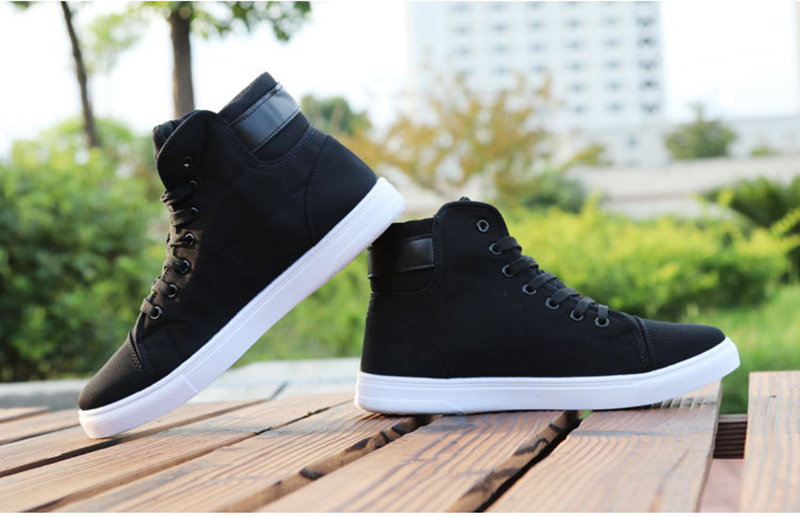 HTB1u4AcaPzuK1RjSspeq6ziHVXa0 Mens High-top Canvas Shoes Men 2020 New Spring Autumn Top Fashion Sneakers Lace-up High Style Solid Colors Man Black Shoes KA853