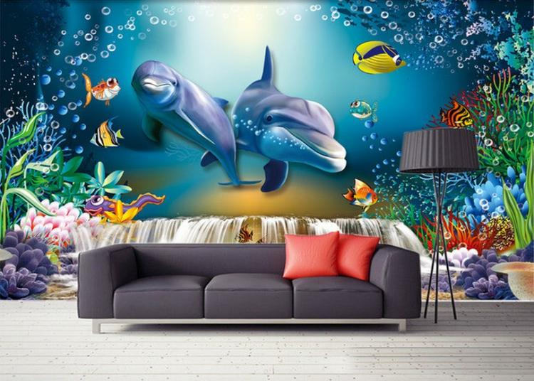 Free Shipping 3D Underwater World shark wallpaper mural decorating living room aquarium sofa backdrop mural large mural wallpaper wallpaper ktv theme hotel restaurant 3d d poster three shark underwater world