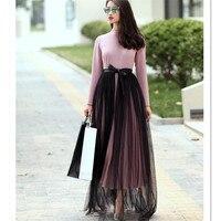 Katmanlı Etek Yüksek Bel Siyah Katı PU Pacthwork Zarif Açık Slayt Moda Kadınlar Uzun Etekler Yaz Bahar Yetişkin Tül Etek