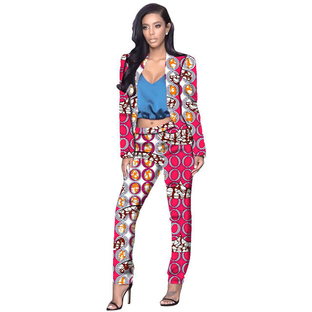 Mulheres elegantes imprimir africano dashiki terno da moda colarinho blazers e calças conjunto ocasional das senhoras conjuntos de roupas de vestuário da áfrica