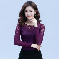 Spring Autumn Women Casual Lace Blouse O Neck Long Sleeve Shirt Elegant Plus Size Shirt Top