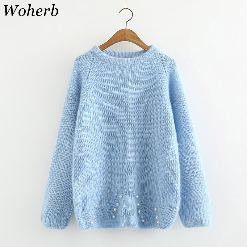 Woherb Winter Kawaii Mohair Sweater Women Elegant Pearl Beading Pullover Jumper Autumn 2020 Knitted Sweaters Pull Femme 20174