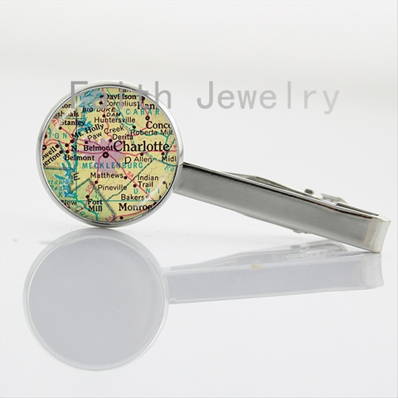2016 Vintage Map tie clips fashion glass cabochon dome silver plated handmade Necktie Bar Clasp Clamp Pin traveler gifts NS151