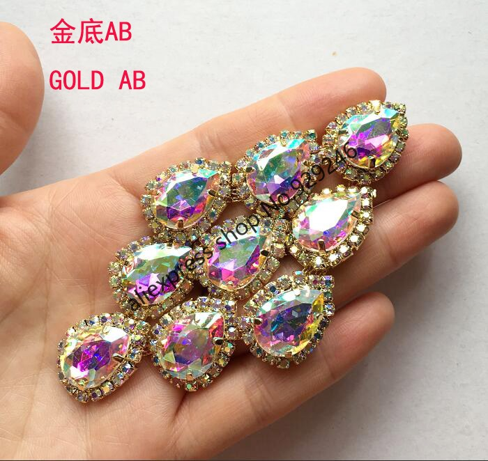 wholesale 20pcs/lot tear drop AB crystal applique for garment ornaments gold AB strass for shoes white stone garment accessory-in Rhinestones from Home & Garden    1