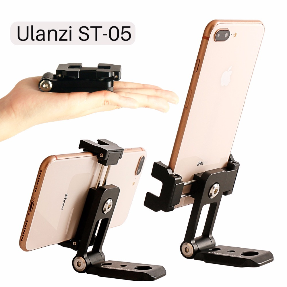 ST-05 All in 1 Phone Tripod Mount Clipper w Hot Shoe for Microphone Vertical Video Shoot Tripod Clamp Holder for iPhone XS XR цена