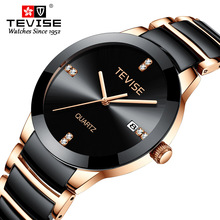 TEVISE גבר שעון 2020 יוקרה מותג קוורץ שעוני יד Mens קרמיקה מזדמן אישיות זכר שעון erkek kol saati T845GS
