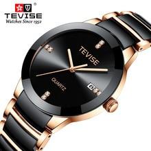 TEVISE homme montre 2020 marque de luxe Quartz montre bracelet hommes en céramique décontracté personnalité mâle horloge erkek kol saati T845GS