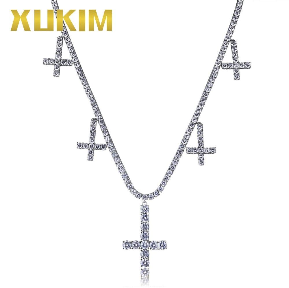 Xukim bijoux couleur argent chrétien Relogious fantôme jésus croix collier pendentif cubique Zircon glacé sur Hip Hop bijoux cadeau