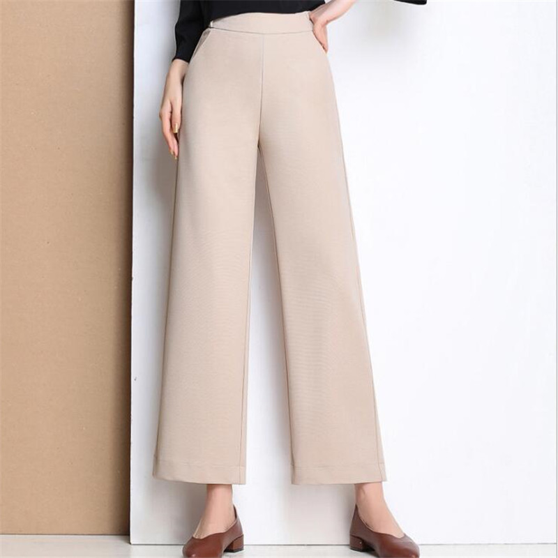 Stretch Cotton Wmoen   Pants     Capris   Fashion Loose Wide Leg   Pants   British Style Street Harem   Pants   Spring Summer 2019 High Waist