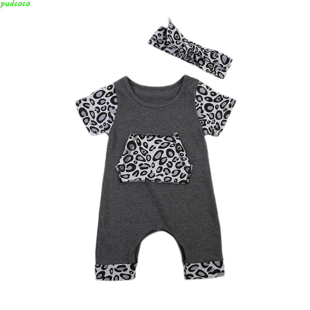 12ffca22a710 Summer Newborn Baby Girls Clothes 2PCS Toddlers Baby Leopard Print Romper  Headband Playsuit Jumpsuit Outfit Clothing