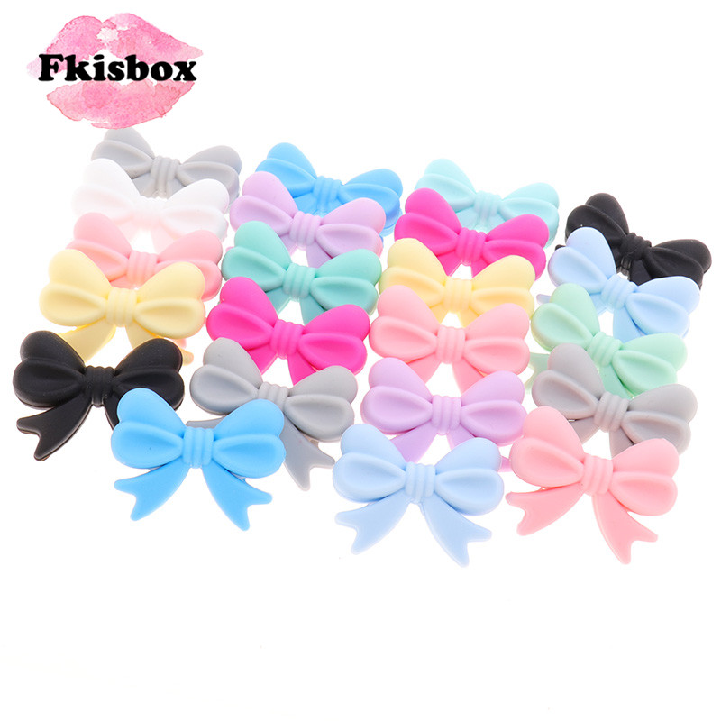 25PC Flower Knot Baby Teether Silicone Bowknot Beads Small Tie Bpa Free Infant Teething Necklace Newborn Pacifier Clip Chain DIY