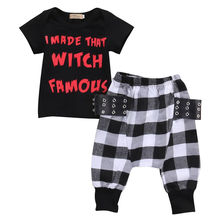 Fashion Casual Baby Boys Clothes Set Letter Printing Short Sleeve Tops T-shirt+Plaid Pants Harem Outfits 2Pcs Set